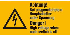 Elektrokennzeichnung / Warnkombischild, Achtung! Bei ausgeschaltetem Hauptschalter ..., 2-sprachig (Ausführung: Elektrokennzeichnung/Warnkombischild, Achtung! Bei ausgeschaltetem Hauptschalter ..., 2-sprachig (Art.Nr.: 30.0605))