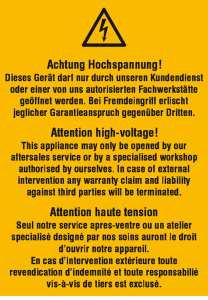 Elektrokennzeichnung / Warnkombischild, Achtung Hochspannung! Dieses Gerät ..., 3-sprachig (Ausführung: Elektrokennzeichnung/Warnkombischild, Achtung Hochspannung! Dieses Gerät ..., 3-sprachig (Art.Nr.: 21.0649))