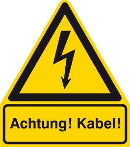 Elektrokennzeichnung / Warnkombischild, Achtung! Kabel! (Maße (BxH)/Material: 210 x 238 mm / Alu, geprägt (Art.Nr.: 11.1431))
