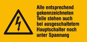 Elektrokennzeichnung / Warnkombischild, Alle entsprechend gekennzeichneten ... (Maße (BxH)/Material: 52 x 26 mm / Folie, 9er-Bogen (Art.Nr.: 30.1316))