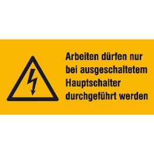 Elektrokennzeichnung / Warnkombischild, Arbeiten dürfen nur bei ausgeschaltetem Hauptschalter... (Ausführung: Elektrokennzeichnung/Warnkombischild, Arbeiten dürfen nur bei ausgeschaltetem Hauptschalter... (Art.Nr.: 21.1254))