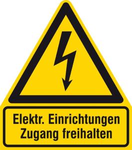 Elektrokennzeichnung / Warnkombischild, Elektrische Einrichtungen Zugang freihalten (Maße (BxH)/Material: 210 x 238 mm / Alu, geprägt (Art.Nr.: 11.1437))