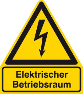 Elektrokennzeichnung / Warnkombischild, Elektrischer Betriebsraum (Maße (BxH)/Material: 210x238mm/Folie,selbstklebend (Art.Nr.: 21.1443))