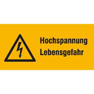 Elektrokennzeichnung / Warnkombischild, Hochspannung Lebensgefahr (Maße (BxH)/Material: 52 x 26 mm / Folie, 9er-Bogen (Art.Nr.: 30.1306))