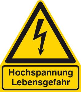 Elektrokennzeichnung / Warnkombischild, Hochspannung Lebensgefahr (Maße (BxH)/Material: 210 x 238 mm / Alu, geprägt (Art.Nr.: 11.1280))
