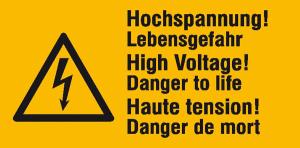 Elektrokennzeichnung / Warnkombischild, Hochspannung! Lebensgefahr, 3-sprachig (Ausführung: Elektrokennzeichnung/Warnkombischild, Hochspannung! Lebensgefahr, 3-sprachig (Art.Nr.: 30.0594))