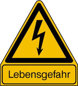 Elektrokennzeichnung / Warnkombischild, Lebensgefahr (Maße (BxH)/Material: 210 x 238 mm / Alu, geprägt (Art.Nr.: 11.1425))