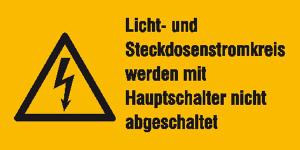 Elektrokennzeichnung / Warnkombischild, Licht- und Steckdosenstromkreis ... (Maße (BxH)/Material: 52 x 26 mm / Folie, 9er-Bogen (Art.Nr.: 30.0699))