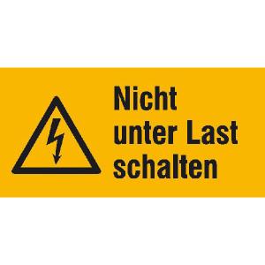 Elektrokennzeichnung / Warnkombischild, Nicht unter Last schalten (Maße (BxH)/Material: 52 x 26 mm / Folie, 9er-Bogen (Art.Nr.: 30.1334))