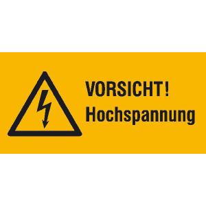 Elektrokennzeichnung / Warnkombischild, VORSICHT! Hochspannung (Maße (BxH)/Material: 52 x 26 mm / Folie, 9er-Bogen (Art.Nr.: 30.1307))