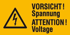 Elektrokennzeichnung / Warnkombischild, VORSICHT! Spannung, 2-sprachig (Ausführung: Elektrokennzeichnung/Warnkombischild, VORSICHT! Spannung, 2-sprachig (Art.Nr.: 30.0592))