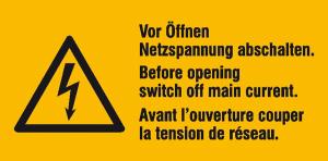 Elektrokennzeichnung / Warnkombischild, Vor Öffnen Netzspannung abschalten, 3-sprachig (Ausführung: Elektrokennzeichnung/Warnkombischild, Vor Öffnen Netzspannung abschalten, 3-sprachig (Art.Nr.: 30.0647))