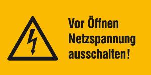 Elektrokennzeichnung / Warnkombischild, Vor Öffnen Netzspannung ausschalten! (Maße (BxH)/Material: 52 x 26 mm / Folie, 9er-Bogen (Art.Nr.: 30.0622))