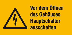 Elektrokennzeichnung / Warnkombischild, Vor dem Öffnen des Gehäuses ... (Maße (BxH)/Material: 52 x 26 mm / Folie, 9er-Bogen (Art.Nr.: 30.1308))