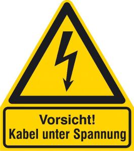 Elektrokennzeichnung / Warnkombischild, Vorsicht! Kabel unter Spannung (Ausführung: Elektrokennzeichnung/Warnkombischild, Vorsicht! Kabel unter Spannung (Art.Nr.: 11.1434))