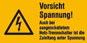 Elektrokennzeichnung / Warnkombischild, Vorsicht Spannung! Auch bei ... (Maße (BxH)/Material: 52 x 26 mm / Folie, 9er-Bogen (Art.Nr.: 30.0602))