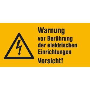 Elektrokennzeichnung / Warnkombischild, Warnung vor Berührung der elektrischen Einrichtungen ... (Maße (BxH)/Material: 52 x 26 mm / Folie, 9er-Bogen (Art.Nr.: 30.1330))