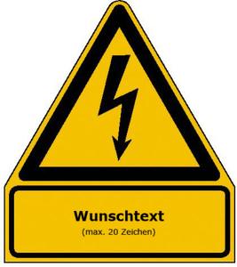 Elektrokennzeichnung / Warnkombischild mit Wunschtext (Maße (BxH)/Material: 210x238mm/Alu,geprägt (Art.Nr.: 11.1467))