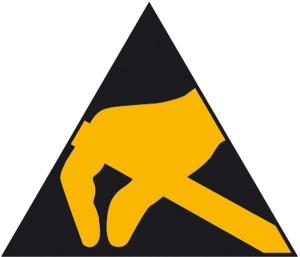 Elektrokennzeichnung / Warnschild, Elektrostatisch gefährdete Bauelemente (Maße (SL)/Material: 80 mm / Folie, 390er-Bogen (Art.Nr.: 30.2048))
