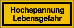 Elektrokennzeichnung / Warnschild, Hochspannung Lebensgefahr (Maße (BxH)/Material: 52 x 18 mm / Folie, selbstklebend (Art.Nr.: 21.1297))