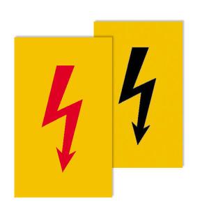 Elektrokennzeichnung/ Warnschild -Protect-, selbstklebend, Spannungszeichen (Symbol: Blitz rot (Art.Nr.: 39.0040-01))