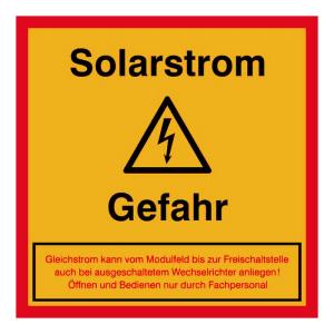 Elektrokennzeichnung / Warnschild, Solarstrom - Achtung Gefahr (Ausführung: Elektrokennzeichnung/Warnschild, Solarstrom - Achtung Gefahr (Art.Nr.: 21.0686))