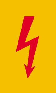 Elektrokennzeichnung / Warnschild, Spannungszeichen (roter Blitz) (Maße (BxH) / Material: 37 x 74 mm / Folie, selbstklebend (Art.Nr.: 21.1362))
