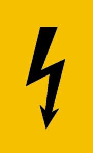 Elektrokennzeichnung / Warnschild, Spannungszeichen (schwarzer Blitz) (Maße (BxH): 37 x 74 mm / Folie, selbstklebend (Art.Nr.: 21.0586))