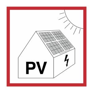 Elektrokennzeichnung / Warnschild, Warnung vor Gefahren durch Photovoltaikanlage (Ausführung: Elektrokennzeichnung/Warnschild, Warnung vor Gefahren durch Photovoltaikanlage (Art.Nr.: 21.0685))