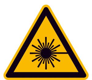 Elektrokennzeichnung / Warnschild, Warnung vor Laserstrahl (Maße (SL)/Material: 15 mm / Folie, 114er-Bogen (Art.Nr.: 30.0201))