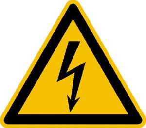 Elektrokennzeichnung / Warnschild, Warnung vor elektrischer Spannung (Maße (SL)/Material: 8 mm / Folie, 390er-Bogen (Art.Nr.: 30.1123))