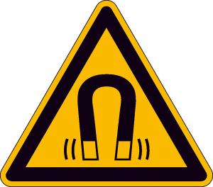 Elektrokennzeichnung / Warnschild, Warnung vor magnetischem Feld (Maße (SL) / Material / Variante: 50 mm / Folie, 10er-Bogen (Art.Nr.: 30.a8160))