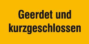 Elektrokennzeichnung / Warnzusatzschild, Geerdet und kurzgeschlossen (Maße (BxH): 200 x 100 mm (Art.Nr.: 43.1462))