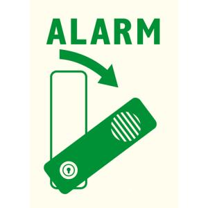 Ersatzpiktogramm ALARM, für Schwenk-Türwächter, nachleuchtend (Modell: Türwächter rechts öffnend (Art.Nr.: 31592))