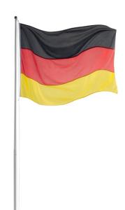Fahnenmast Komplett-Set, Höhe 5 m, aus Aluminium, inkl. Deutschland-Flagge (Bodenhalterung: Bodenhülse zum Einbetonieren (Art.Nr.: 36833))