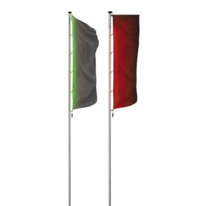 Fahnenmast -ZA 100LED-, zylindrisch Ø 100 mm aus Aluminium, mit LED-RGB-Lichtband, programmierbar, Höhe 6-10 m