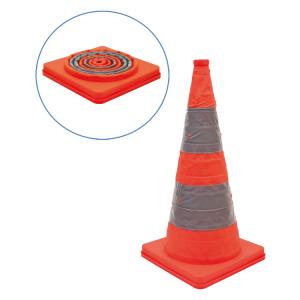Faltleitkegel -Cone-, Höhe 600 mm, mit integriertem Blinklicht, orange-silber (Ausführung: Faltleitkegel -Cone-, Höhe 600 mm, mit integriertem Blinklicht, orange-silber (Art.Nr.: 28050))