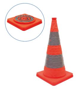 Faltleitkegel -Cone-, Höhe 600 mm, mit integriertem Blinklicht, orange-silber, vollreflektierend (Ausführung: Faltleitkegel -Cone-, Höhe 600 mm, mit integriertem Blinklicht, orange-silber, vollreflektierend (Art.Nr.: 28052))