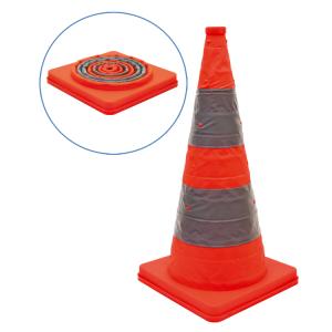 Faltleitkegel -Cone-, Höhe 700 mm, mit integriertem Blinklicht, orange-silber, vollreflektierend (Ausführung: Faltleitkegel -Cone-, Höhe 700 mm, mit integriertem Blinklicht, orange-silber, vollreflektierend (Art.Nr.: 28055))