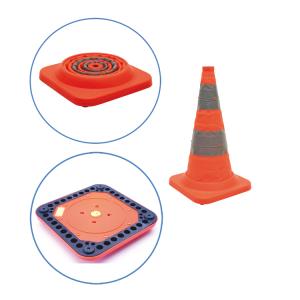 Faltleitkegel -Cone Plus-, Höhe 500 mm, gemäß StVZO, Vollgummifuß und Blinklicht, orange-silber (Ausführung: Faltleitkegel -Cone Plus-, Höhe 500 mm, gemäß StVZO, Vollgummifuß und Blinklicht, orange-silber (