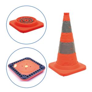 Faltleitkegel -Cone Plus-, Höhe 750 mm, gemäß StVZO, mit Vollgummifuß, Blinklicht, orange-silber (Ausführung: Faltleitkegel -Cone Plus-, Höhe 750 mm, gemäß StVZO, mit Vollgummifuß, Blinklicht, orange-silber