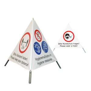 Faltsignal -Corona-TrioSign- 3 versch. Aufdrucke zum Hygieneschutz (Ausführung: Faltsignal -Corona-TrioSign- 3 versch. Aufdrucke zum Hygieneschutz (Art.Nr.: 39932))