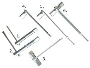 Feuerwehr-Dreikantschlüssel DIN 3222 (M10) und DIN 3223 (M12), verschiedene Modelle (Modell/DIN Norm/Größe:  <b>-1-</b> DIN 3222/M10 Steckschlüssel (Art.Nr.: 18601))