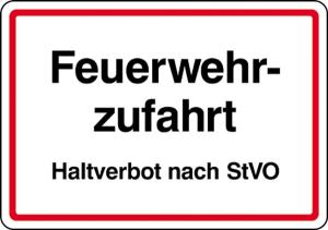 Feuerwehrzufahrt Haltverbot nach StVO (Ausführung: Feuerwehrzufahrt Haltverbot nach StVO (Art.Nr.: 11.2753))