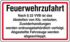 Feuerwehrzufahrt §22 VVB (Ausführung: Feuerwehrzufahrt  (Art.Nr.: 28.6))