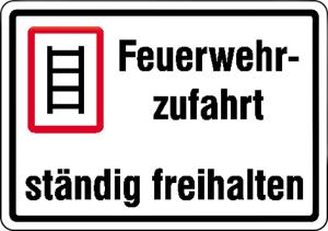 Feuerwehrzufahrt ständig freihalten, Stärke 2 mm (Ausführung: Feuerwehrzufahrt ständig freihalten, Stärke 2 mm (Art.Nr.: 52.2760))