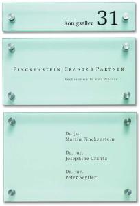 Firmenschilder -Cristallo- mit 1 Scheibe aus Sicherheitsglas, inkl. Edelstahlhalter (Höhe/Befestigung: 125 mm/2 Halter (Art.Nr.: cr1500))