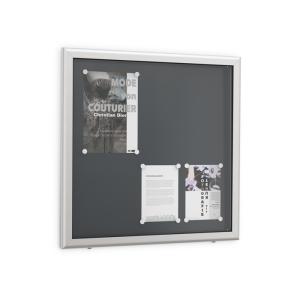 Flachschaukasten -Modell ES-, Bautiefe 70 mm, inkl. 10 Haftmagneten und beschriftbarer Textblende (Modell/Außenmaß (BxH)/Format/Farbe Rückwand: ES3 / 750 x 500 mm / 3 x DIN A4<br> <b>RAL 9002 reinweiß</b> (Art.Nr.: 39704))