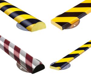 Flächenschutz -Protect- Knuffi®, PU, Edelstahlbasis, Länge 500 oder 1000 mm, extrem abriebfest (Modell/Länge/Farbe/Laschen (BxL):  <b>Rechteck 40/11 mm</b><br>Länge  <b>1000mm</b>, gelb/schwarz<br>mit  <b>6</b> Laschen 80 x 100 mm<br>