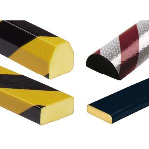Flächenschutz -Protect- Knuffi® aus PU, Länge 1000 mm, verschiedene Profile, selbstklebend (Modell/Farbe:  <b>Trapez 41/36 mm</b>, gelb/schwarz (Art.Nr.: 33290))